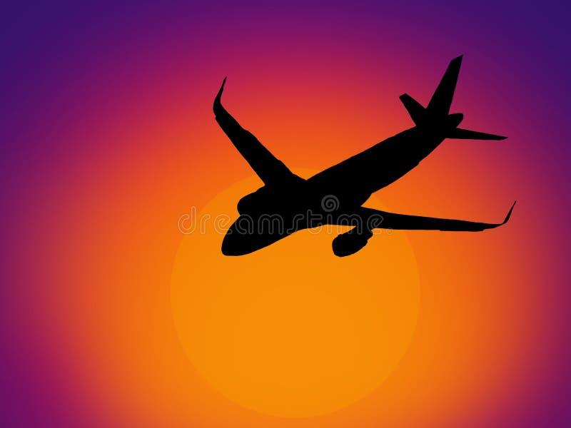Vliegtuig op een zonsondergrond vector illustratie
