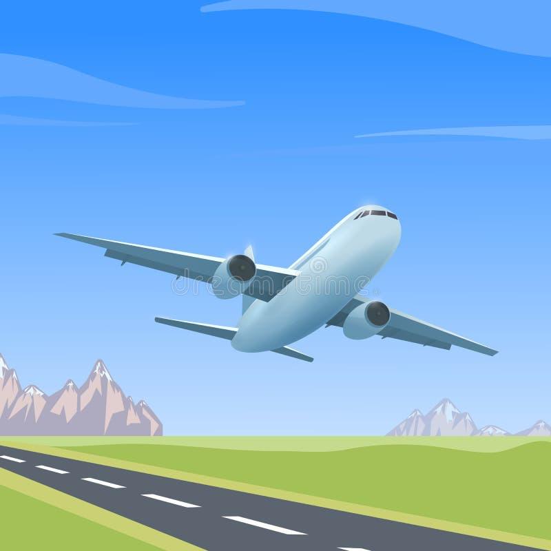 Vliegtuig over de baan royalty-vrije illustratie