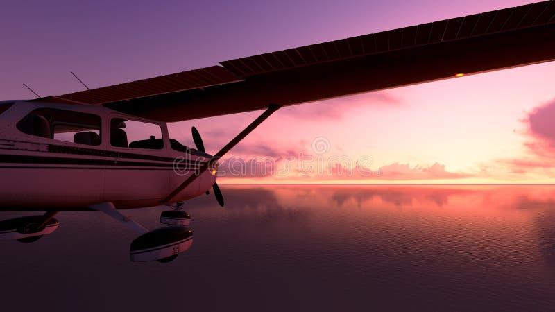 Vliegtuig over de oceaan. royalty-vrije stock foto