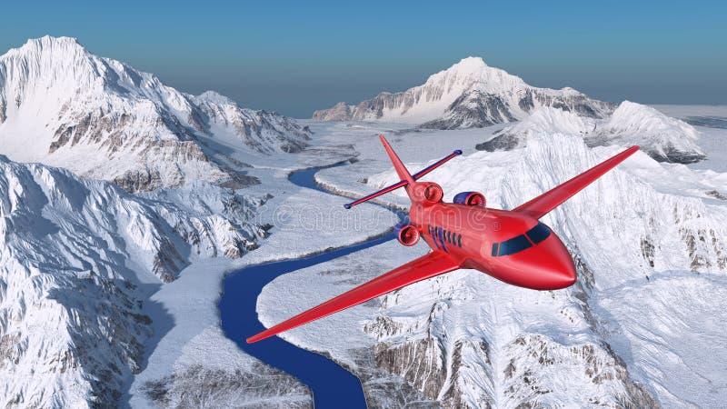 Vliegtuig over de sneeuwbergen vector illustratie