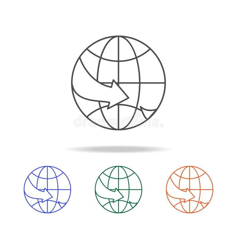 Vliegtuig over het pictogram van de wereldlijn Elementen van reis in multi gekleurde pictogrammen Grafisch het ontwerppictogram v stock illustratie