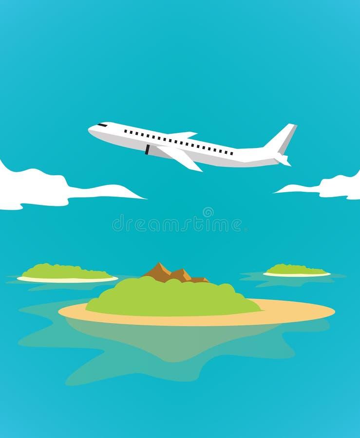 Vliegtuig over het tropische eiland royalty-vrije illustratie
