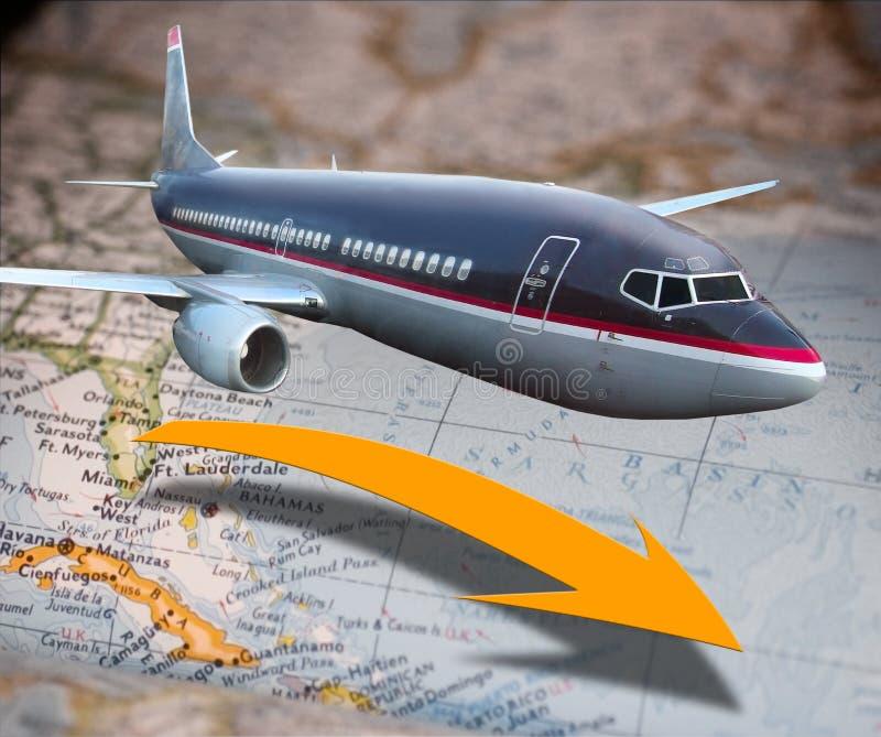 Vliegtuig over kaart