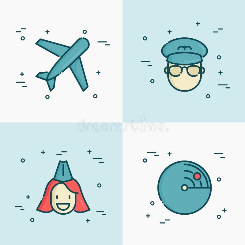 Vliegtuig, proef, van de stewardess en radarlijn pictogrammen vector illustratie