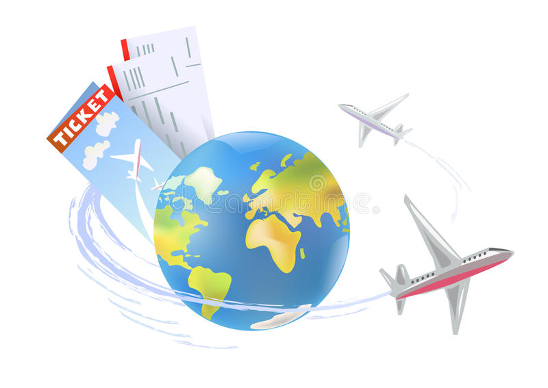 Vliegtuig rond de bol royalty-vrije illustratie
