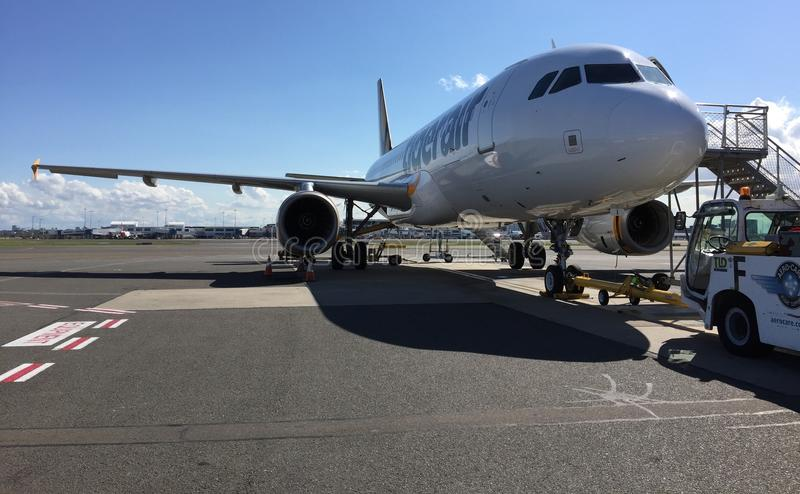Vliegtuig in schort royalty-vrije stock foto's