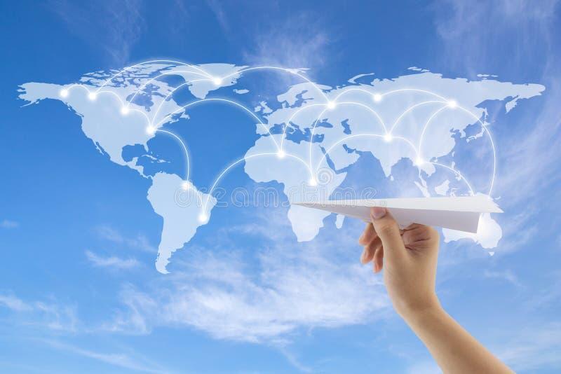 vliegtuig ter beschikking met wereldkaart op achtergrond stock illustratie