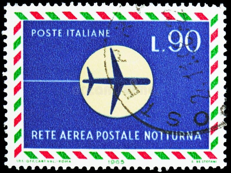 Vliegtuig tijdens de vlucht bij nacht, Openingsnacht van de post van het luchtnetwerk serie, circa 1965 royalty-vrije stock afbeeldingen
