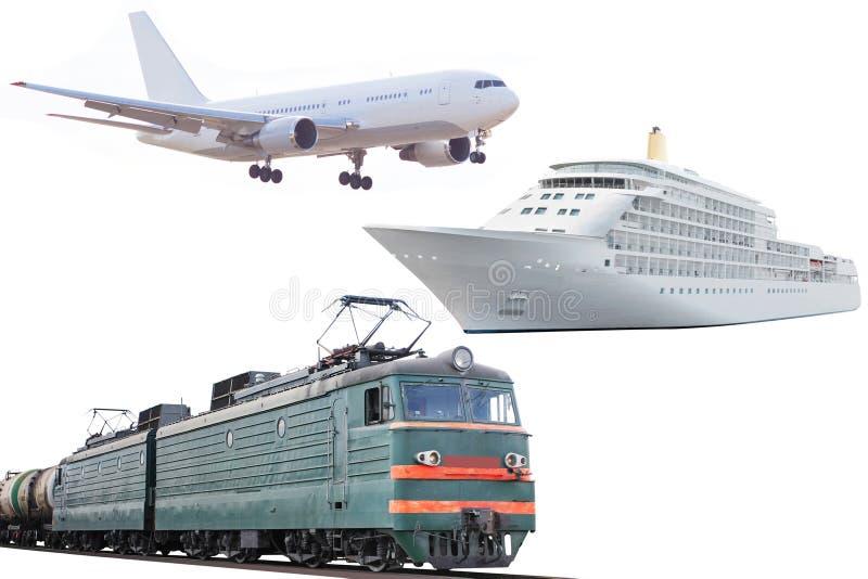 Vliegtuig, trein en cruiseschip stock foto's