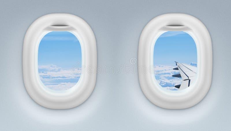 Vliegtuig twee of straalvensters stock afbeelding