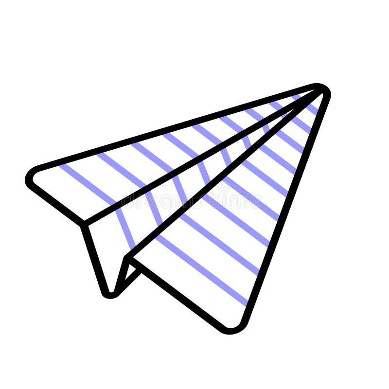 Vliegtuig uit beslist document Origami lineair vectorpictogram dat wordt gevouwen stock illustratie