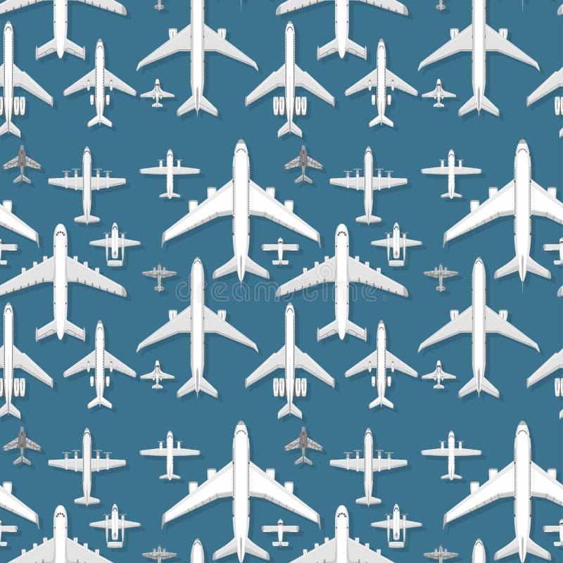 Vliegtuig van de van het achtergrond vliegtuig reizen het naadloze patroon vectorillustratie hoogste mening en het vliegtuigenver stock illustratie