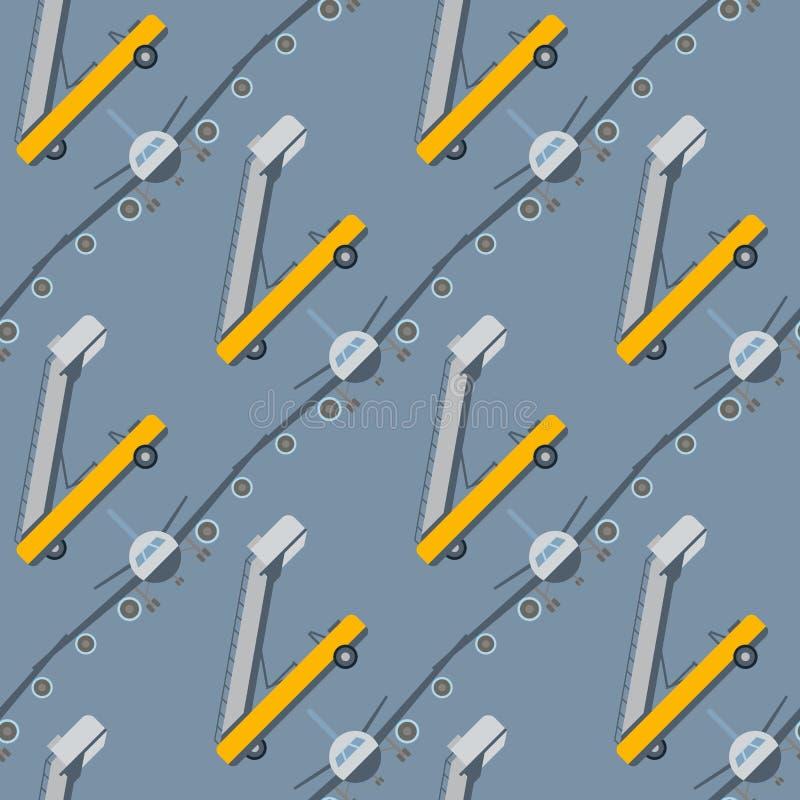 Vliegtuig van de van het achtergrond vliegtuig reizen het naadloze patroon vectorillustratie hoogste mening en het vliegtuigenver vector illustratie