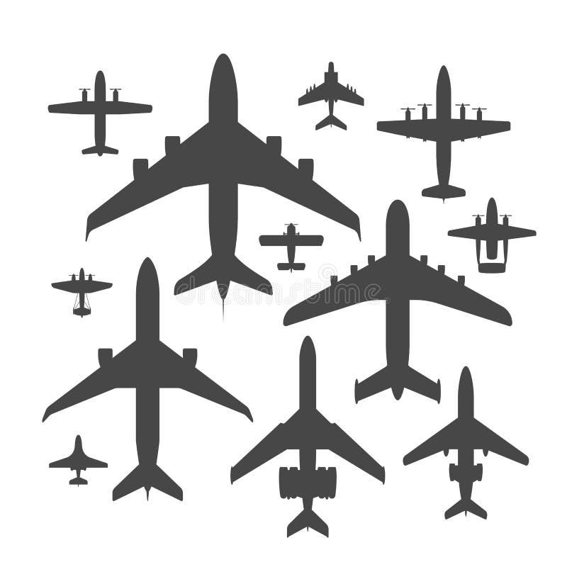 Vliegtuig van de de illustratie hoogste mening van het vliegtuigsilhouet hebben het vector en van de de reismanier van het vliegt stock illustratie