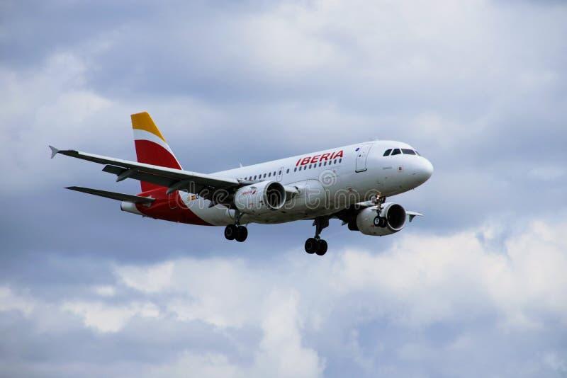Vliegtuig van de luchtvaartlijnen van IBERIA royalty-vrije stock fotografie