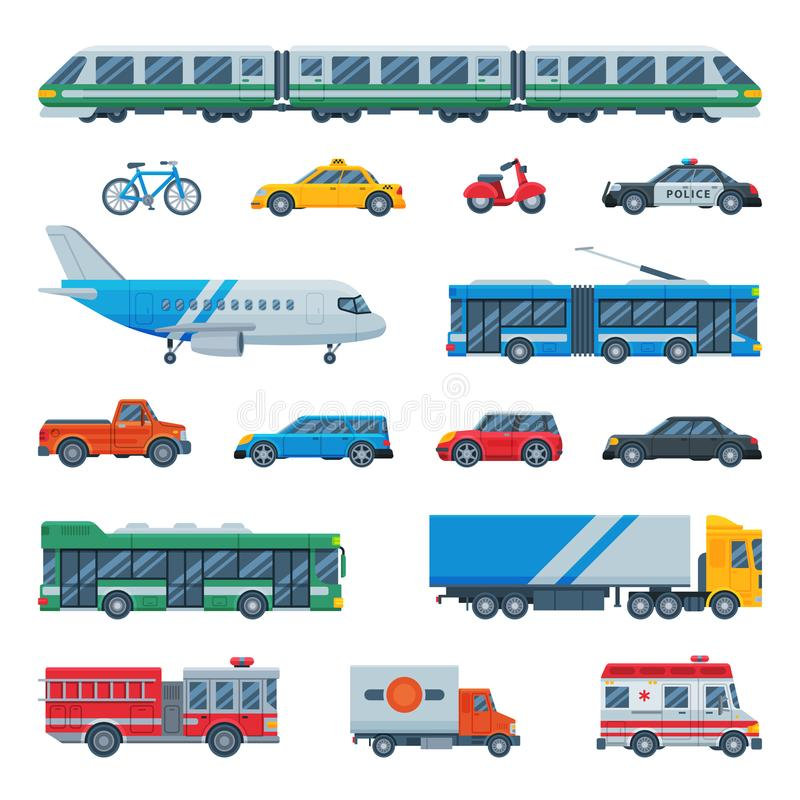 Vliegtuig van de vervoer het vector openbare vervoerbare bus of trein en voertuig of fiets voor vervoer in stadsillustratie royalty-vrije illustratie