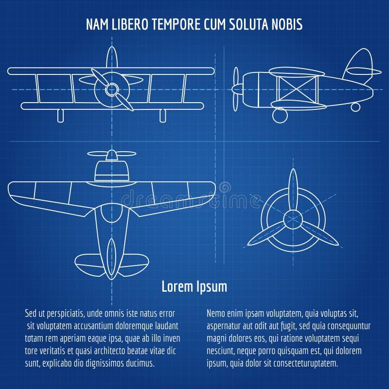 Vliegtuig vectorblauwdruk vector illustratie