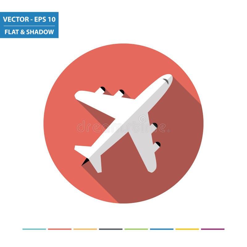 Vliegtuig Vlak Pictogram stock illustratie