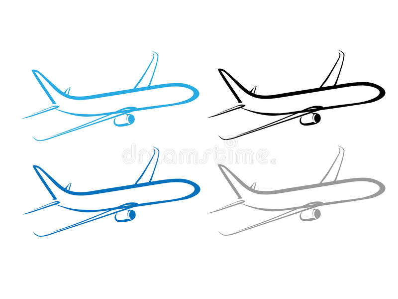Vliegtuig, vliegtuig, vliegtuigsymbool, gestileerd vliegtuig