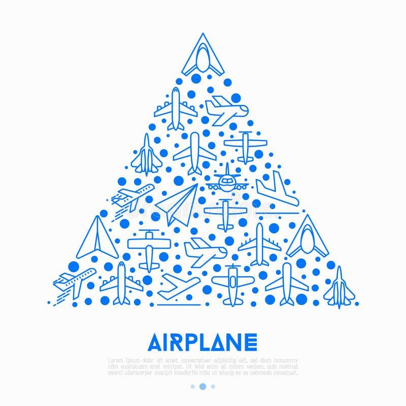 Vliegtuigconcept in driehoek met dunne lijnpictogrammen stock illustratie