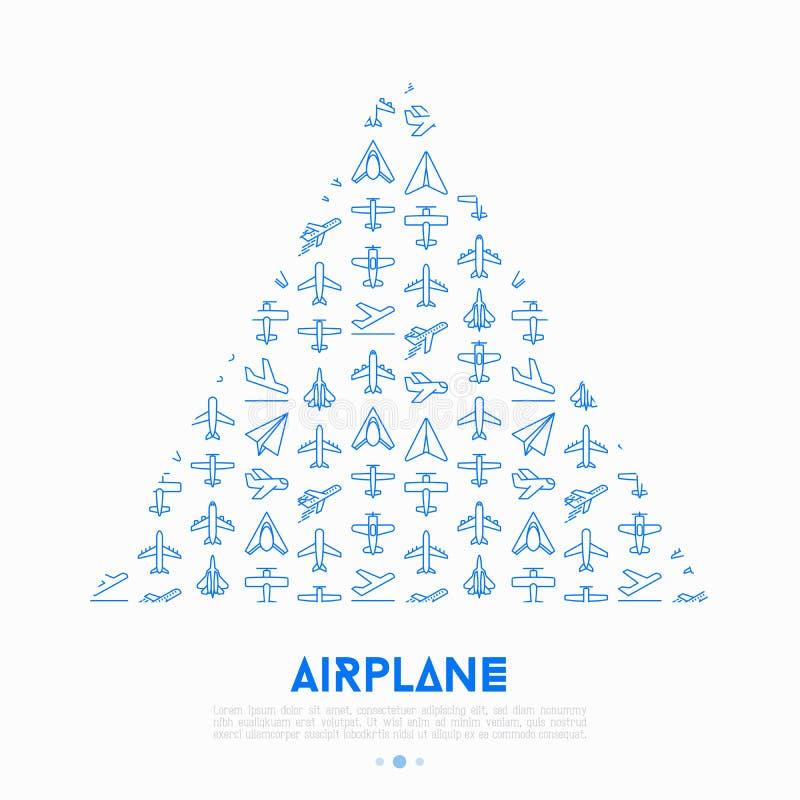 Vliegtuigconcept in driehoek met dunne lijnpictogrammen vector illustratie