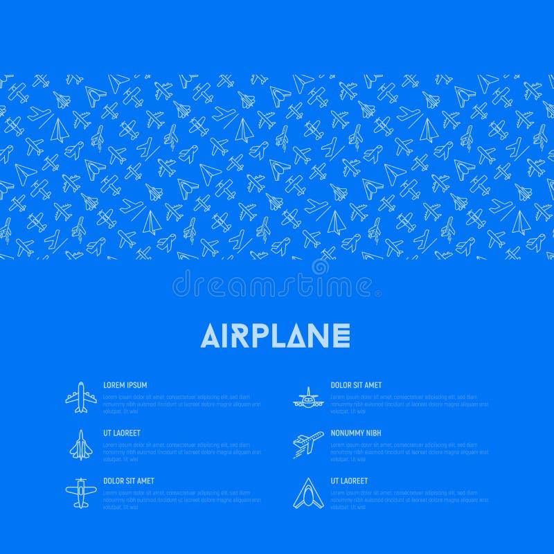 Vliegtuigconcept met dunne lijnpictogrammen royalty-vrije illustratie