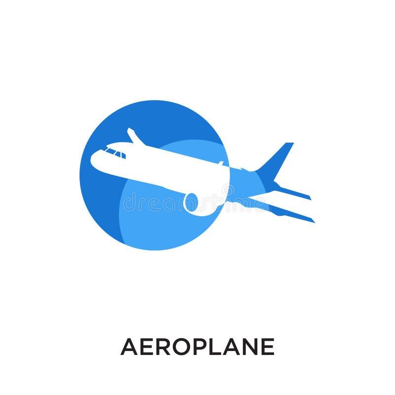 vliegtuigembleem op witte achtergrond voor uw mobiel die Web wordt geïsoleerd, stock illustratie