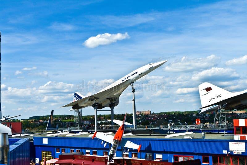 Vliegtuigen Concorde in het museum royalty-vrije stock afbeeldingen
