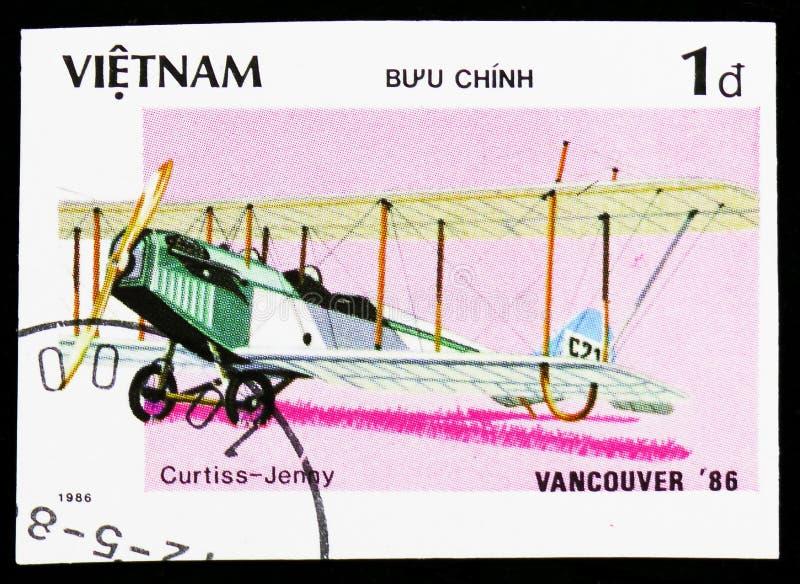 Vliegtuigen Curtiss jn-4 Jenny, Wereld '¬Â  eerlijk Vancouver van â⠂¬Å de 'EXPO '86ââ (Oude vliegtuigen) serie, circa 1986 stock afbeeldingen