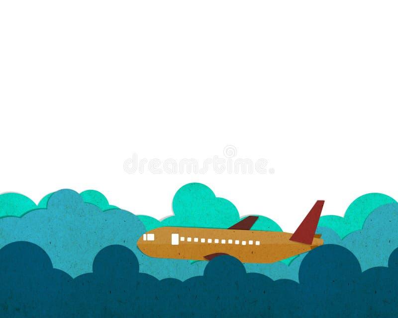 Vliegtuigen die op een wolk vliegen stock illustratie
