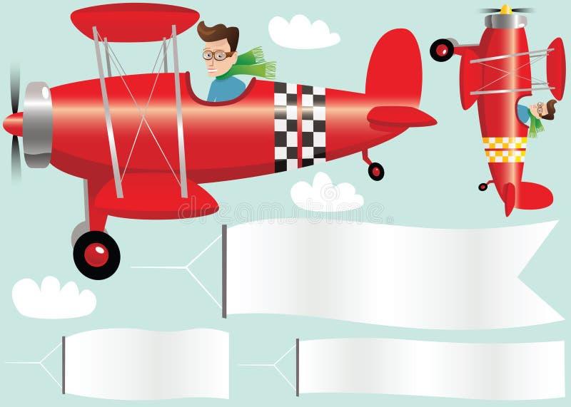Vliegtuigen en banners vector illustratie