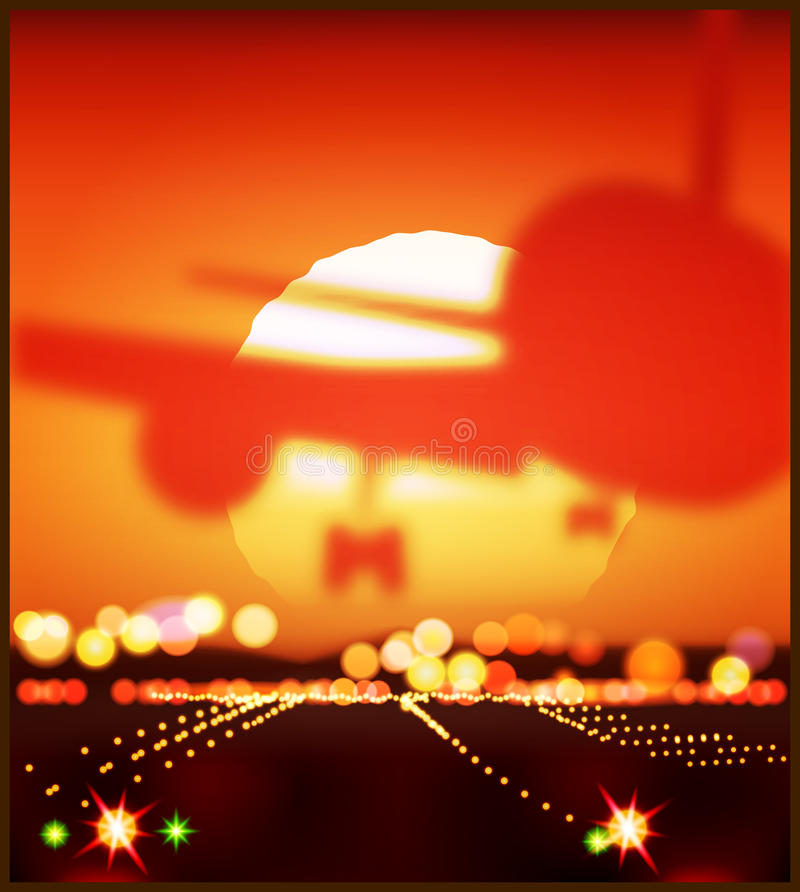 Vliegtuigen en de het plaatsen zon royalty-vrije illustratie