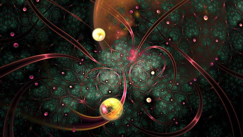 Vliegtuigen en hemellichamen oneindige fractal stock illustratie