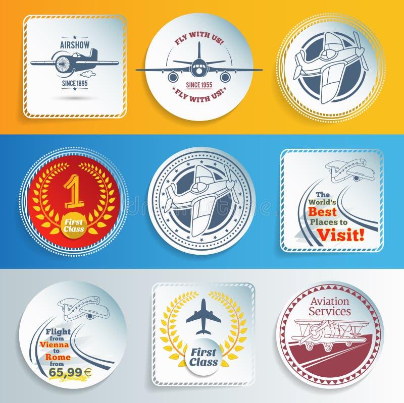 Vliegtuigen en luchtvaartetiketten en stickers stock illustratie