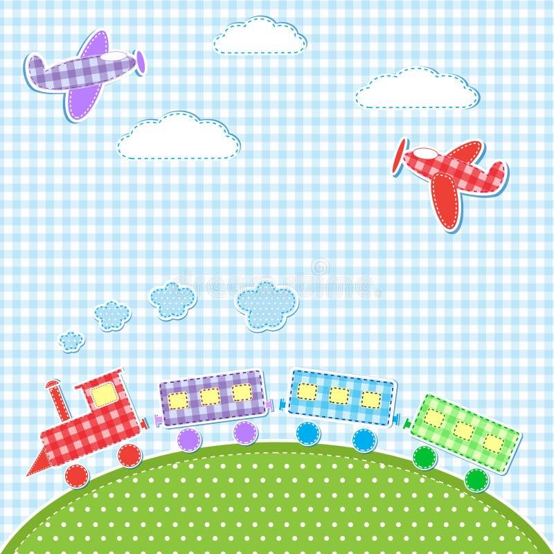 Vliegtuigen en trein royalty-vrije illustratie