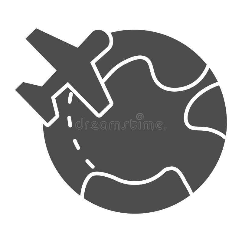 Vliegtuigen en wereld stevig pictogram Reis vectorillustratie die op wit wordt ge?soleerd Reizend die glyph stijlontwerp, wordt o vector illustratie