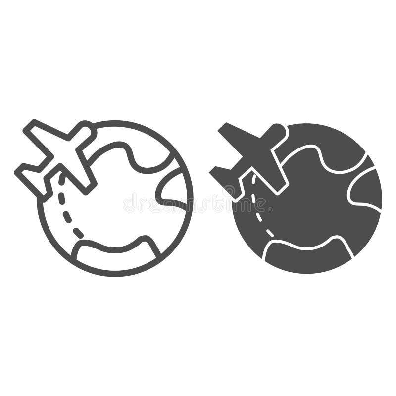 Vliegtuigen en wereldlijn en glyph pictogram Reis vectorillustratie die op wit wordt geïsoleerd Het reizende ontwerp van de overz stock illustratie