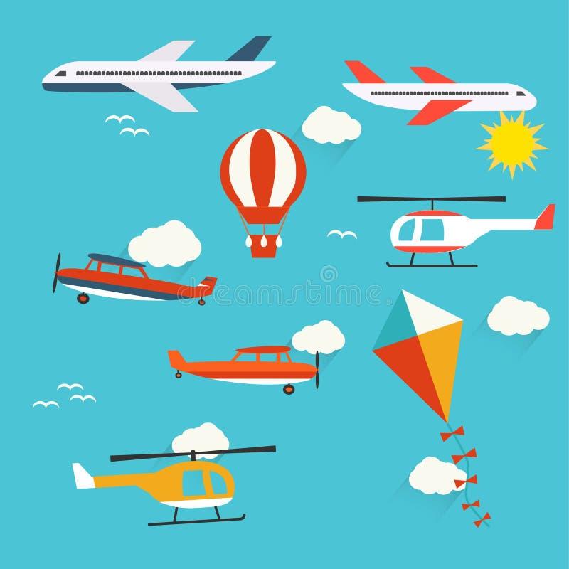Vliegtuigen, helikopters, hete luchtballon en vlieger vector illustratie