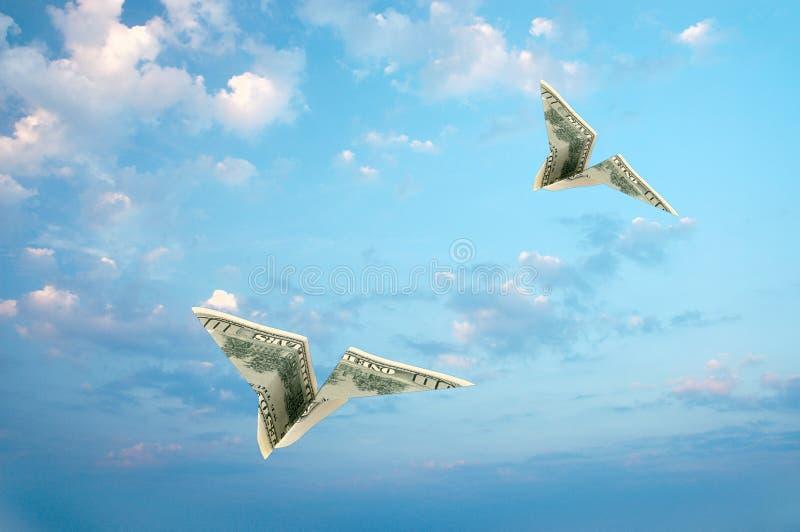 Vliegtuigen in hemel royalty-vrije stock afbeeldingen