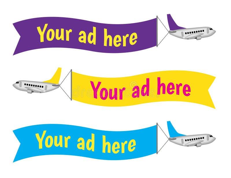 Vliegtuigen met de reclame van teken stock illustratie
