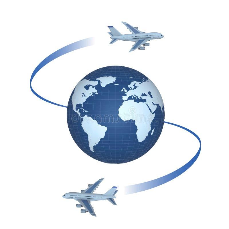 Vliegtuigen om de bol stock afbeeldingen