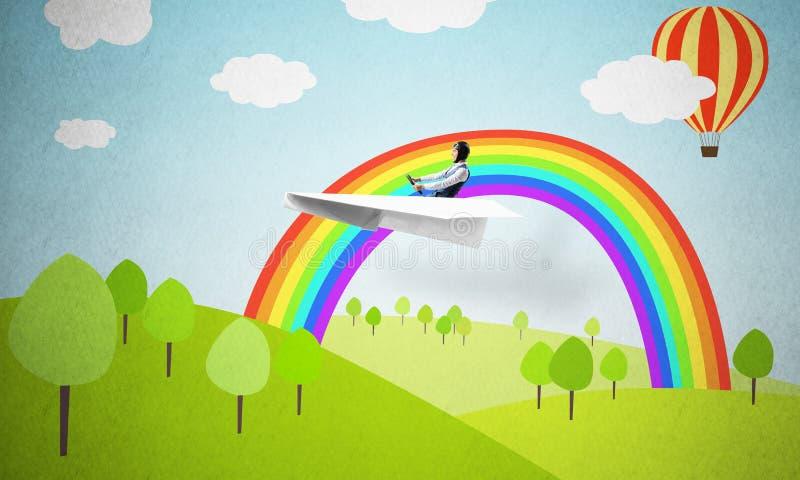Vliegtuigen proef in Witboekvliegtuig royalty-vrije illustratie