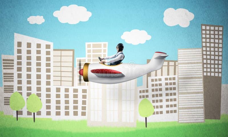 Vliegtuigen proefzitting in klein propellervliegtuig royalty-vrije stock afbeelding