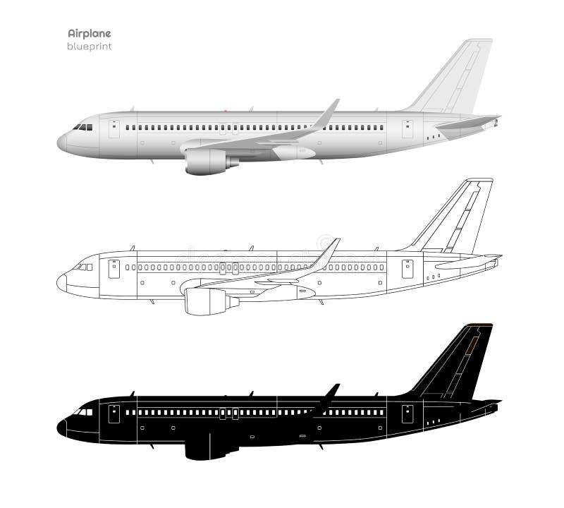 Vliegtuigen in realistische en overzichtsstijl Zwart silhouet van vliegtuig Zijaanzicht van Vliegtuig Industriële geïsoleerde bla royalty-vrije illustratie
