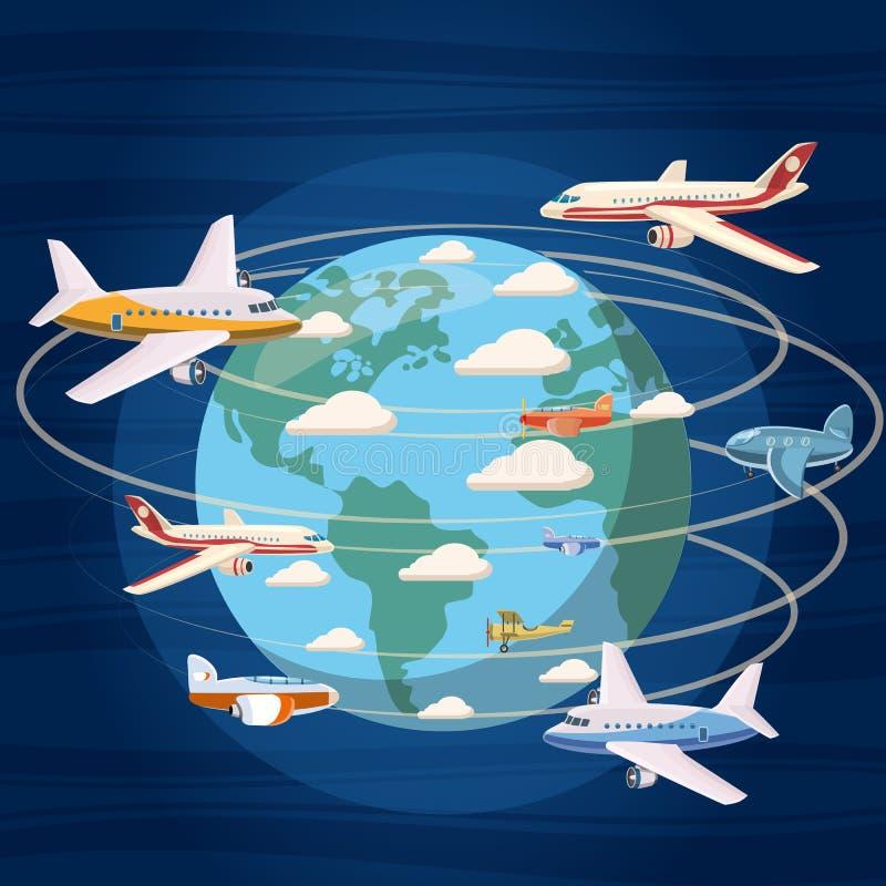 Vliegtuigen rond het wereldconcept, beeldverhaalstijl vector illustratie