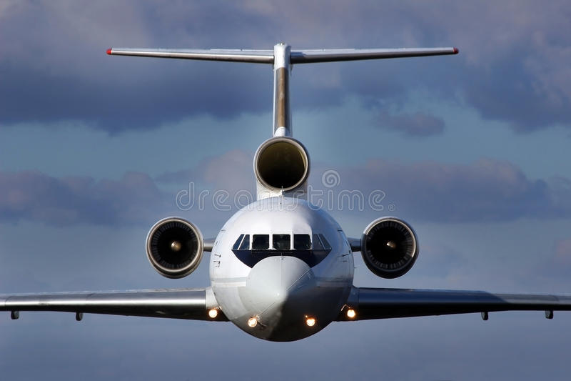 Vliegtuigen tijdens de vlucht royalty-vrije stock afbeeldingen