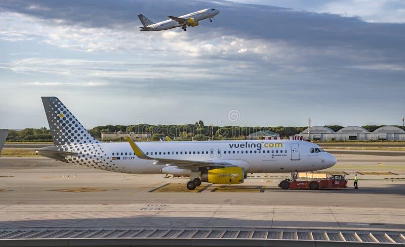 Vliegtuigen van Vueling Airlines royalty-vrije stock afbeeldingen