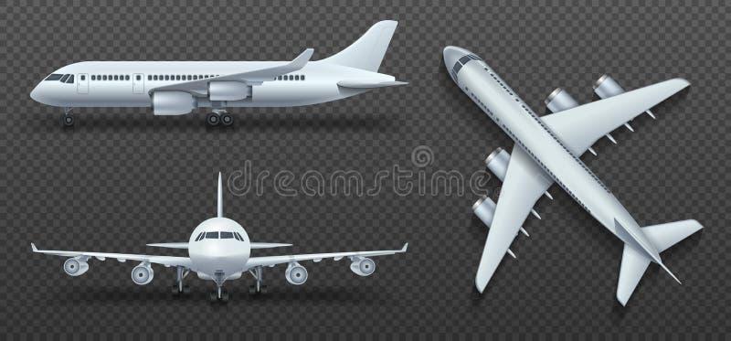 Vliegtuigen, vliegtuig, lijnvliegtuig in verschillende standpunt vectorreeks stock illustratie