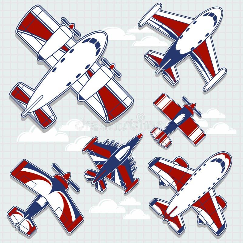 Vliegtuigenbeeldverhaal voor kinderachtige decoratie vector illustratie
