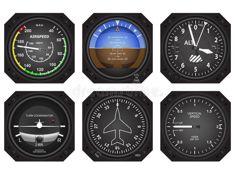 Vliegtuigeninstrumenten royalty-vrije illustratie